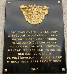 Modlitebna Bratrské jednoty baptistů, pamětní deska